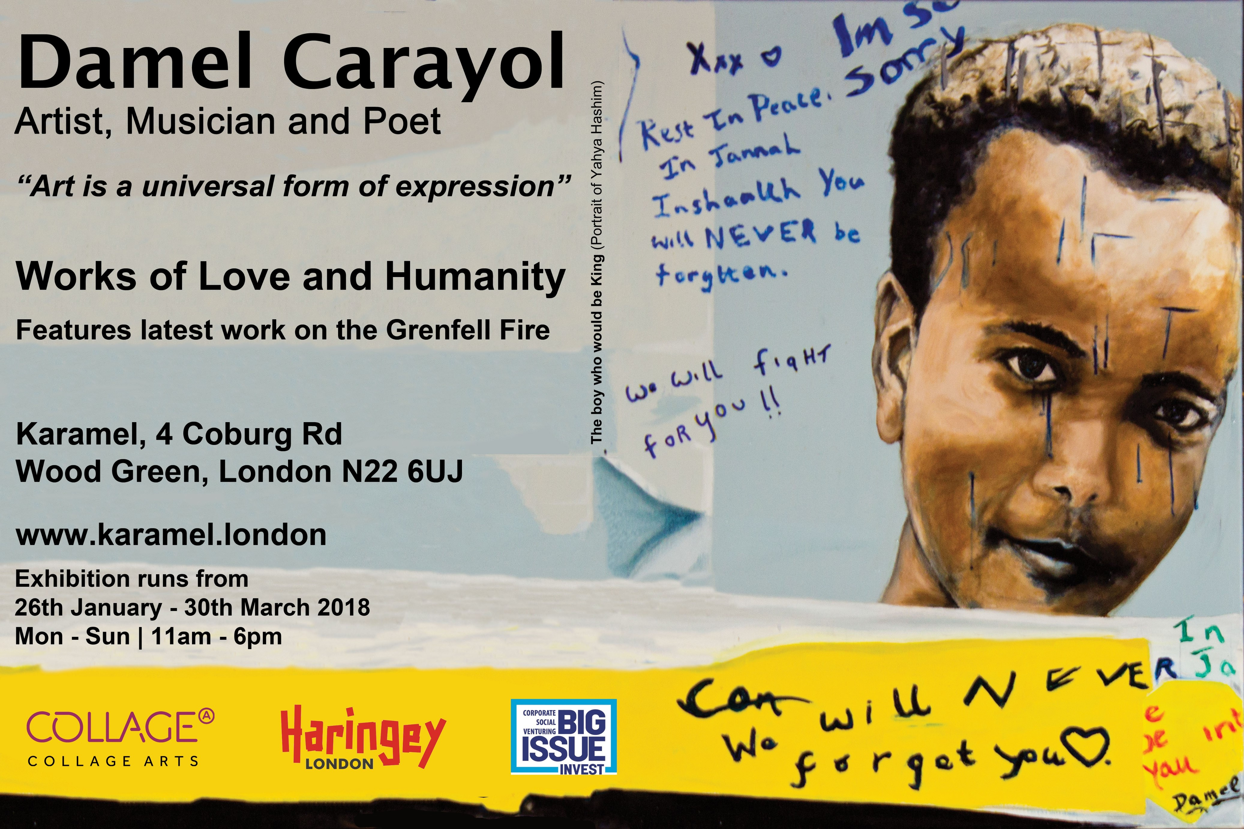 Damel Carayol - Love of Works and Humanity exhibition at Karamel. Runs until 30 March 2018, 11am to 6pm