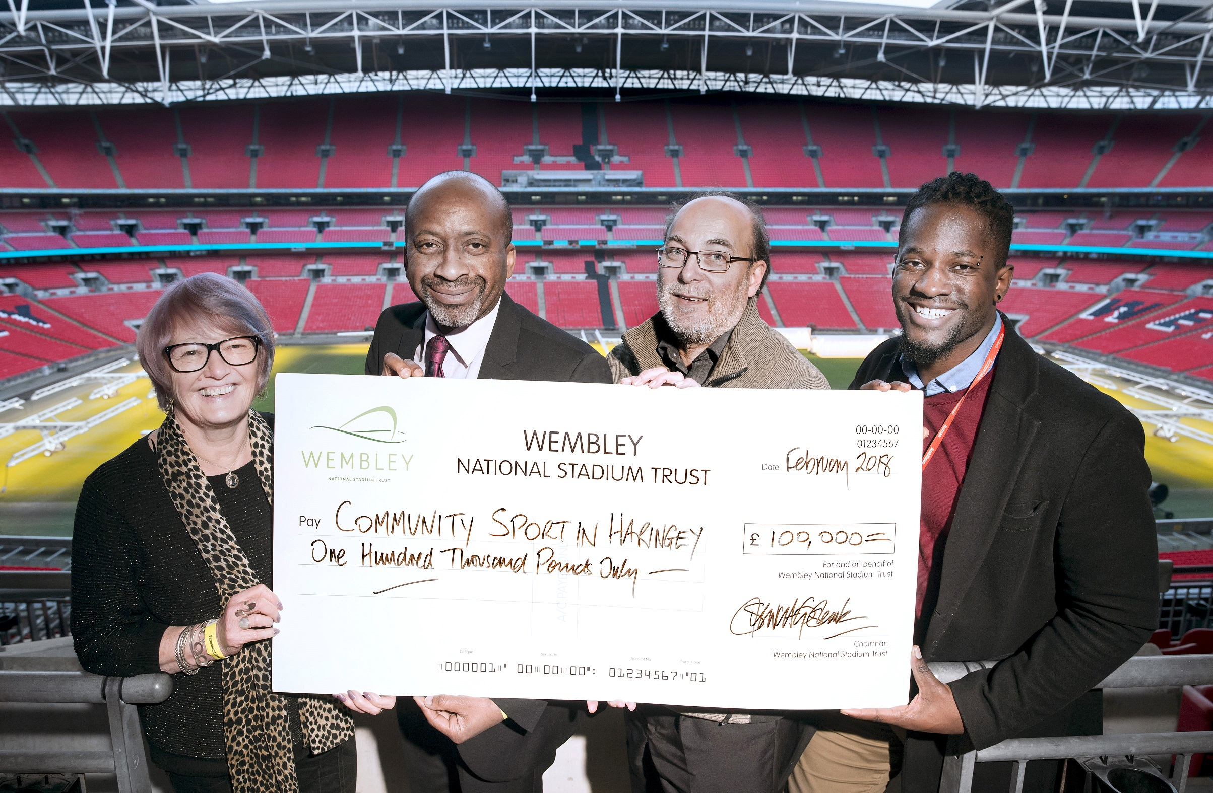 Ann John OBE - Wembley Stadium National Trust Trustee, Cllr Joseph Ejiofor, Stewart Goshawk - CEO of Wembley National Stadium Trust, Neville Graham- Haringey Council Interim Leisure Client Contract Manager