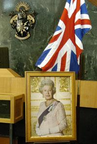 Queen Elizabeth II, the Union Jack and Haringey Crest