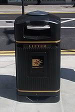 Bin with cigarette plate