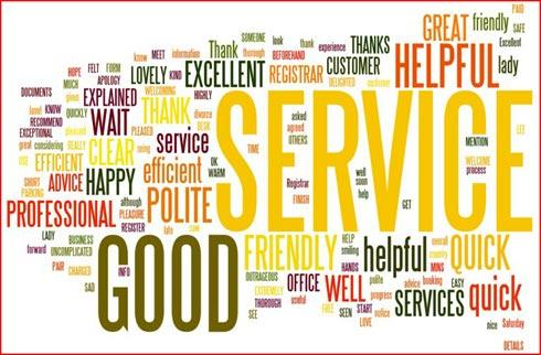 Words from Our Customers - Comments cloud. Image showing the common words used to describe the Births, deaths and Marriages service.