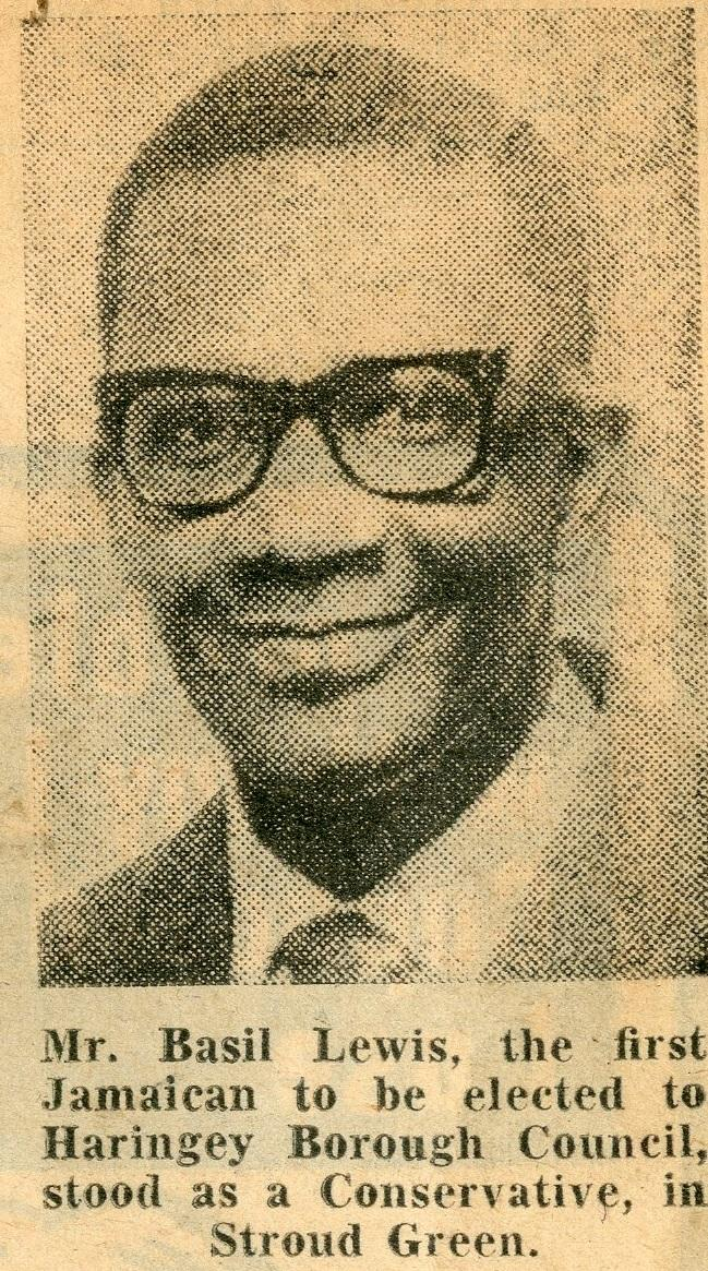 Basil Lewis, Haringey's first black councillor 1968