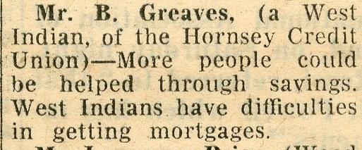 Reference to Blair Greaves and the Hornsey Credit Union 1968