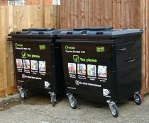 Near-entry recycling bins