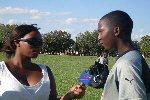 outdoor television interview