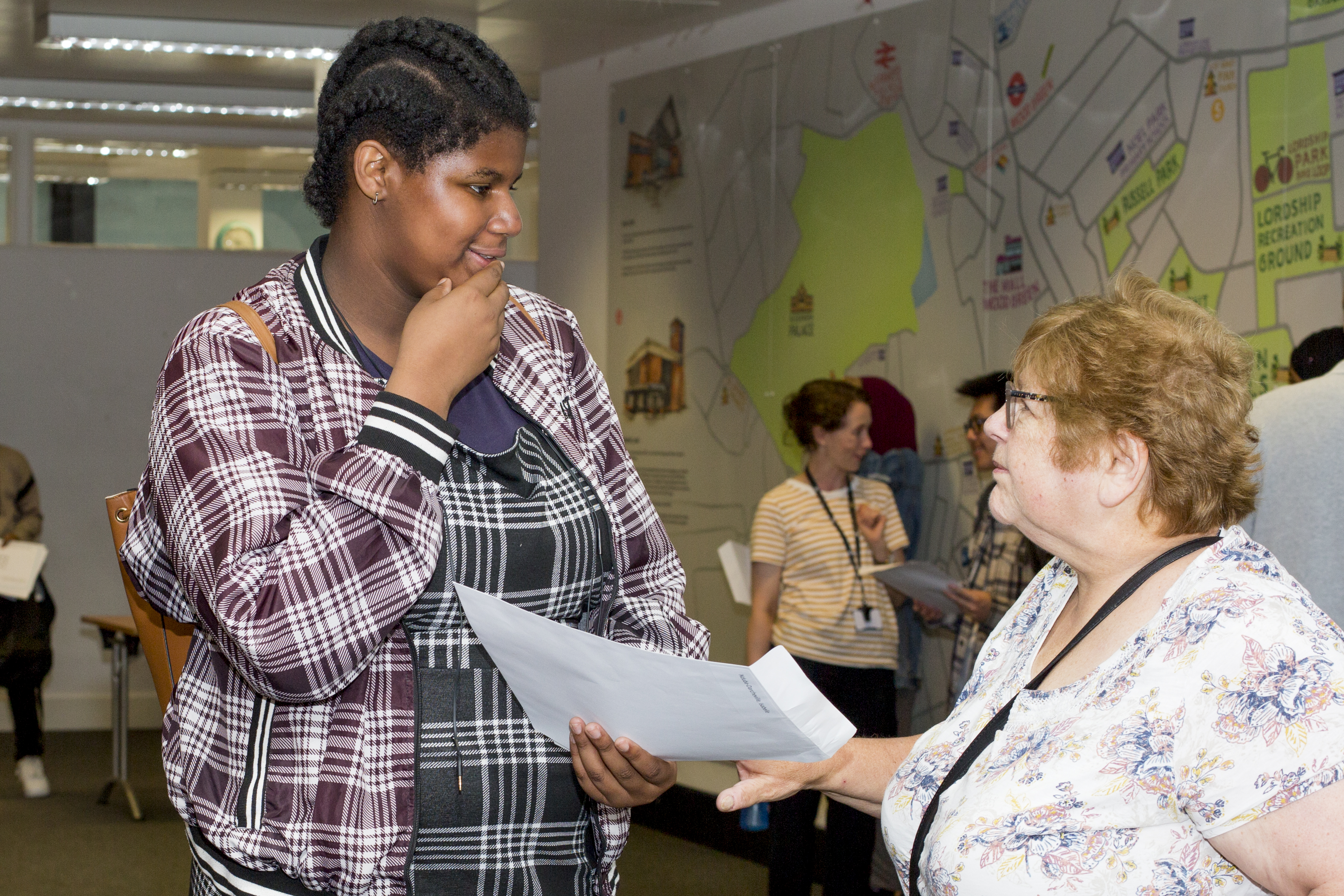 Cllr Zena Brabazon, the Deputy Leader of Haringey Council & Cabinet Member for Children & Families, chats to a Park View pupil
