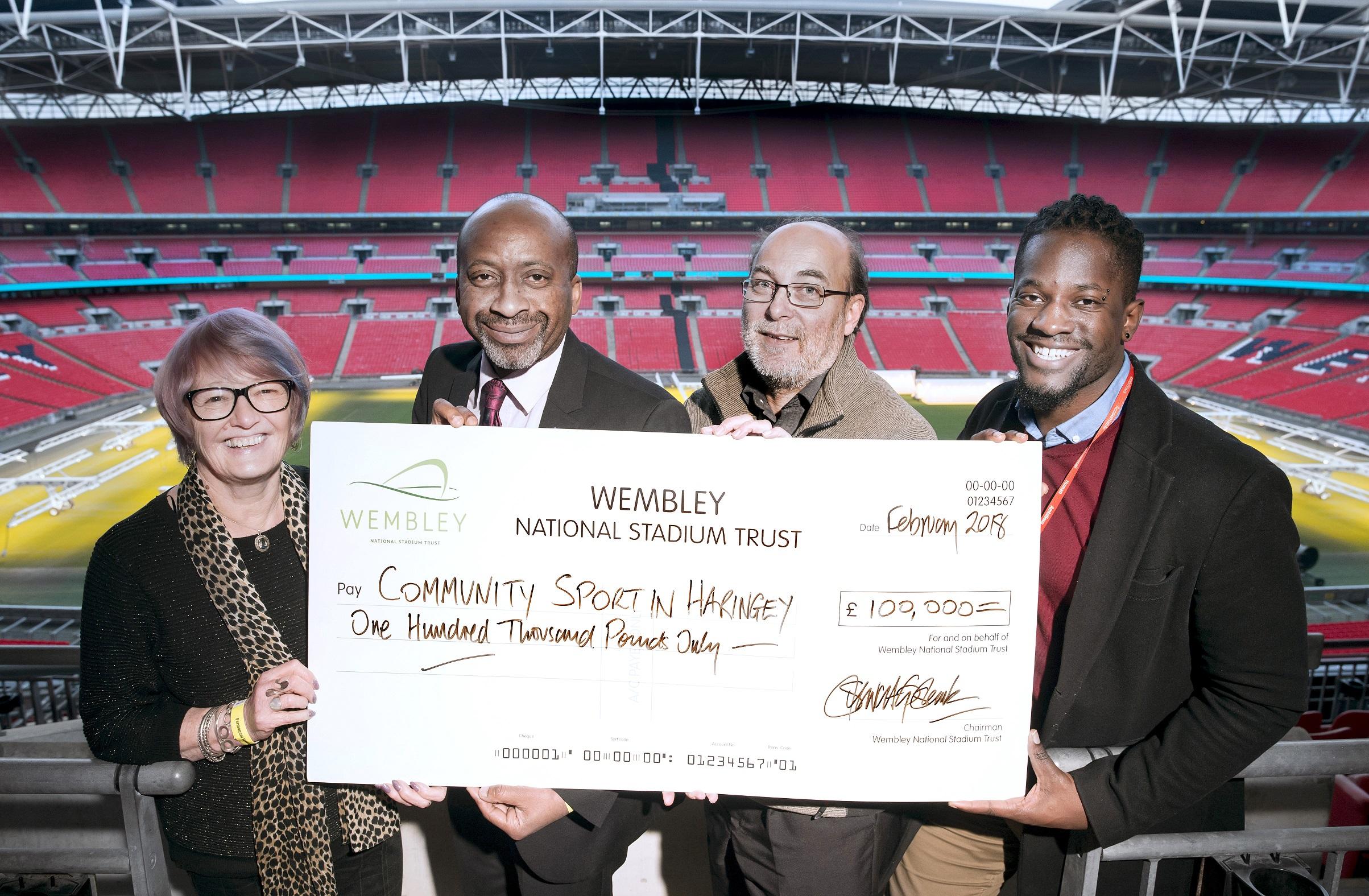 Ann John OBE - Wembley Stadium National Trust Trustee, Cllr Joseph Ejiofor, Stewart Goshawk - CEO of Wembley National Stadium Trust, Neville Graham- Haringey Council Interim Leisure Client Contract Manager