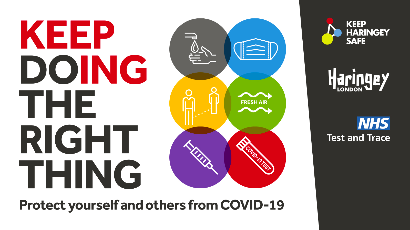 A graphic outlining the key ways that people can keep doing the right thing - washing hands, wearing a face covering, keeping distance, letting in fresh air, getting vaccinated and testing regularly for COVID-19.