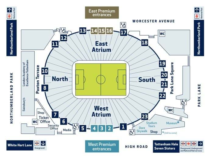 Map of Tottenham Hotspur stadium showing entrance and location of vaccination event