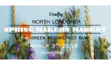 Crafty North Londoner Spring Makers Market. Green Rooms, N22 6UW. 3 March 2018, 11am-5pm