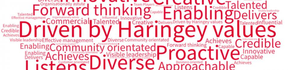 Driven by Haringey values, Diverse, Creative , Aspirational, Forward thinking, Proactive, Innovative , Enabling, Community orientated, Approachable, Listens, Customer orientated, Team Players…