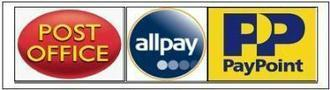 Post Office, all pay and Pay Point logos