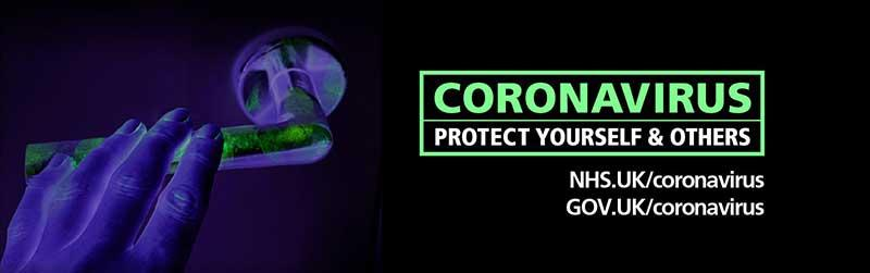 Coronavirus - Protect yourself and others. NHS.UK/coronavirus, GOV.UK/coronavirus