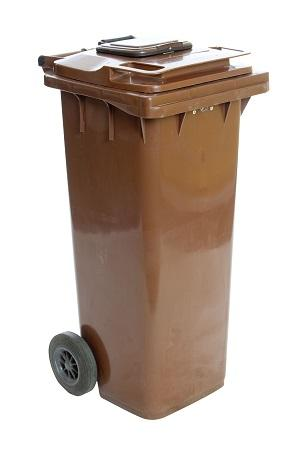 Tall brown wheelie bin with lid