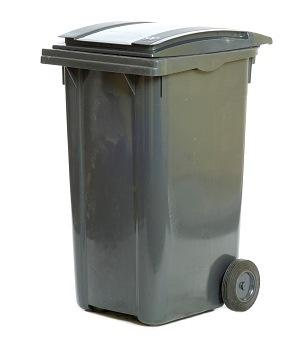 Tall black wheelie bin with lid