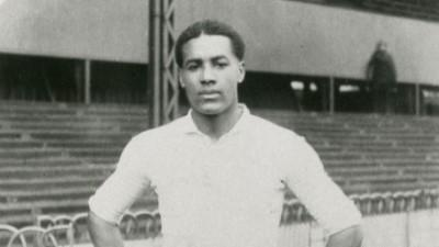 Walter Tull wearing Edwardian football kit