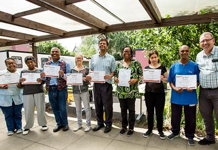 Service users with their certificates in food handling