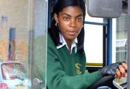 Minibus driver at the wheel