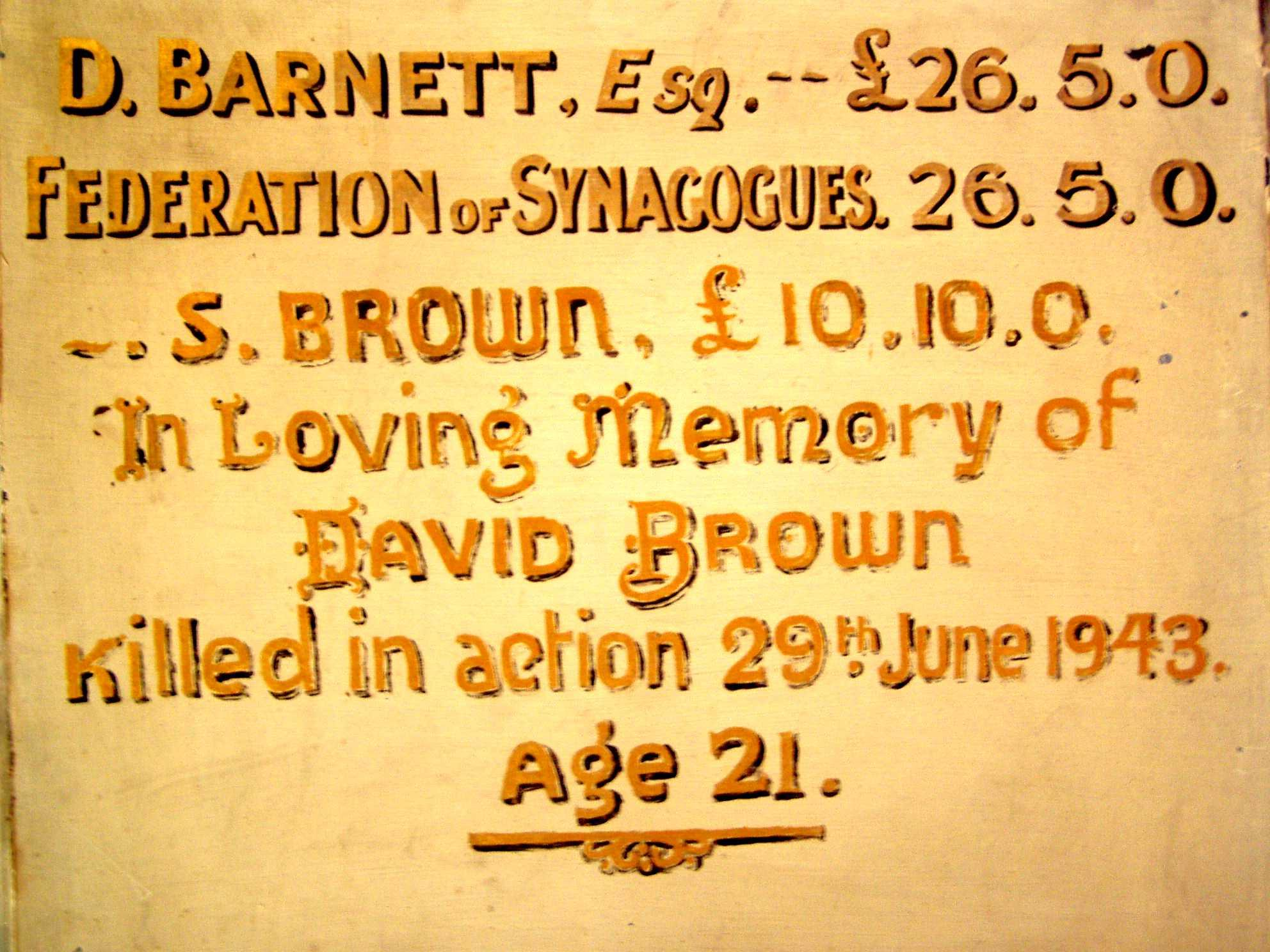 War memorial to David Brown of Tottenham and Edmonton Hebrew Congregration and synagogue 1943