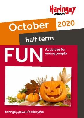 Cover of the October half term activities booklet with a photo of pumpkins and leaves