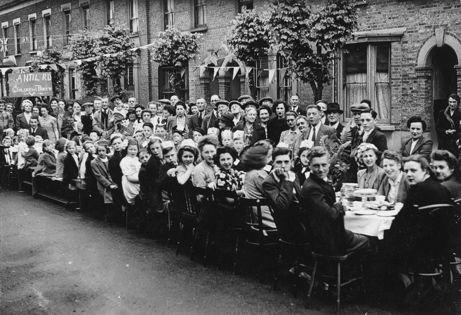 VE Day street party at Antill Road in Tottenham 1945
