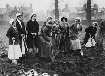 Nurses at the Prince of Wales Hospital, Tottenham dig up the land to grow much needed food
