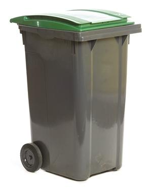 Tall dark grey wheelie bin with green lid
