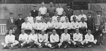 Tottenham Hotspur FC team before the War. Walter Tull is seated second from the right in the second row