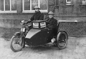 Special Police Constables equipped with a Royal Enfield sidecar