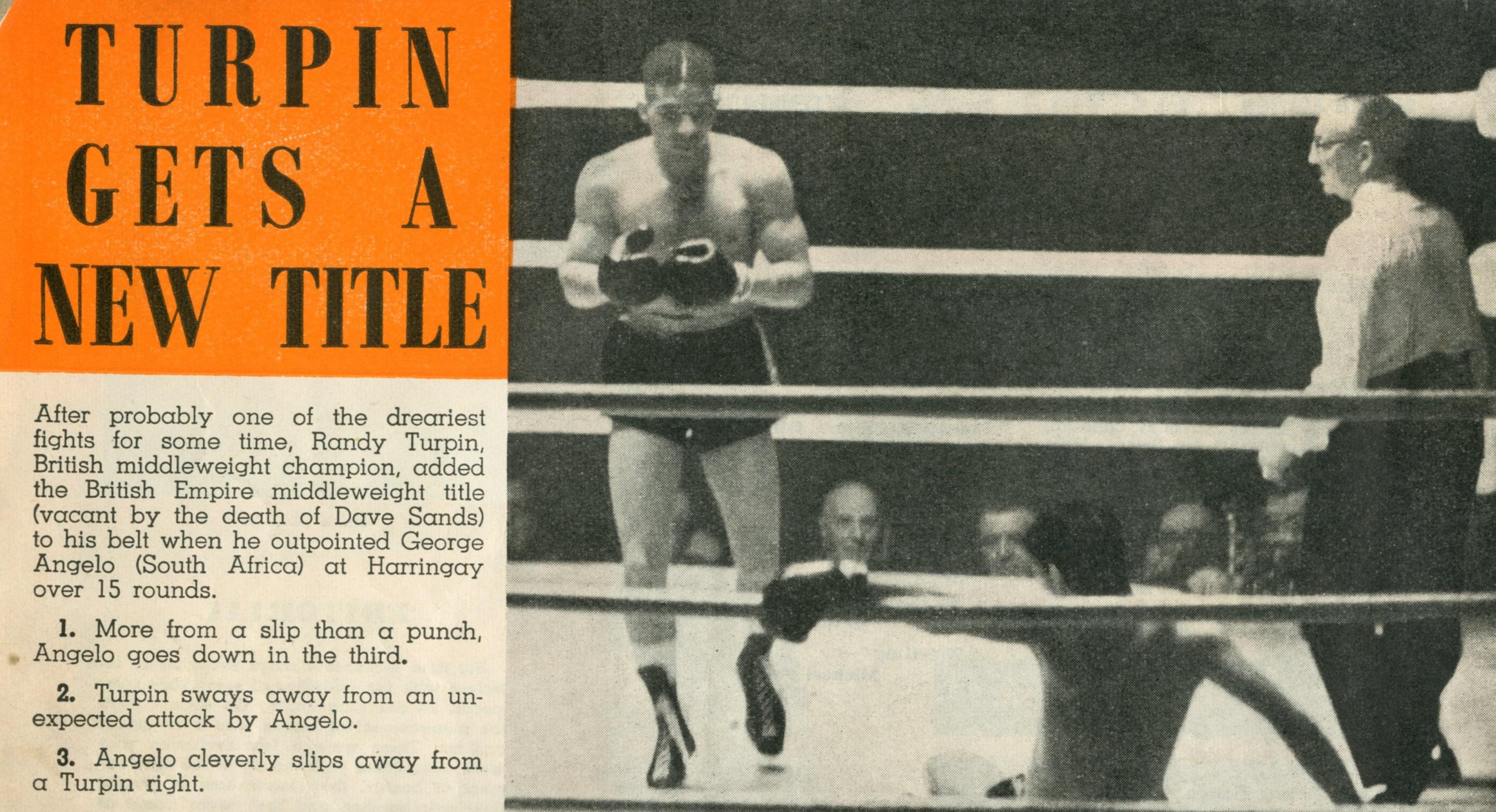 The boxer Randolph Turpin appearing at Harringay Arena