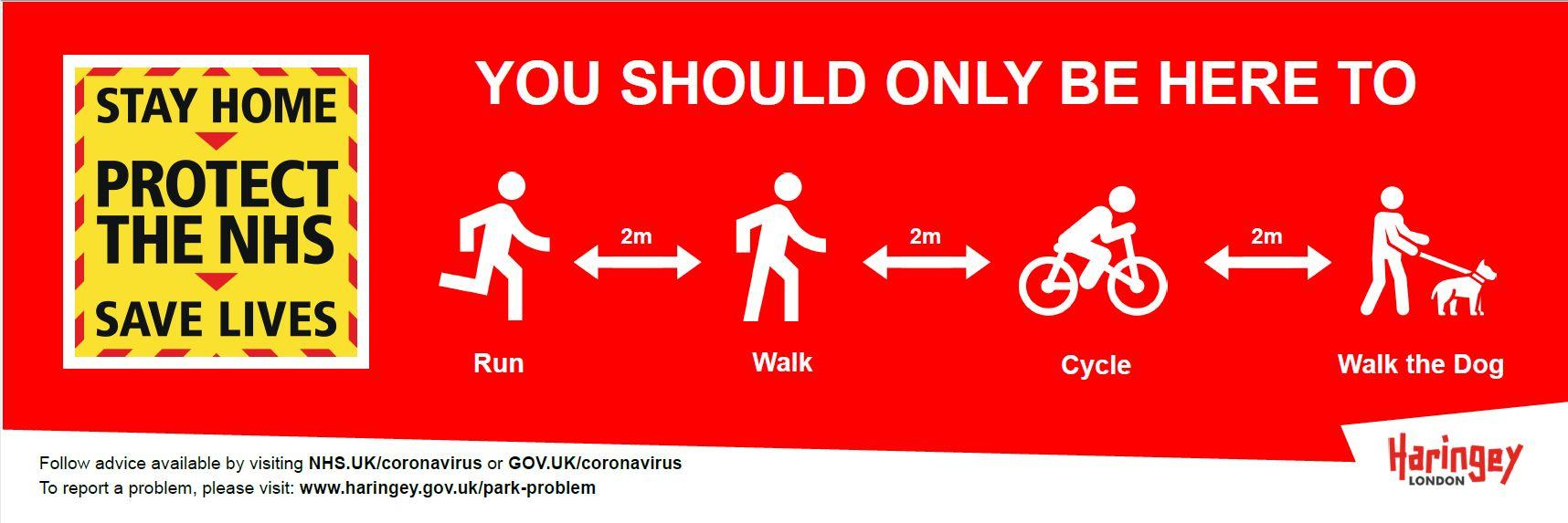 Only use parks to walk, run, cycle, dog walk
