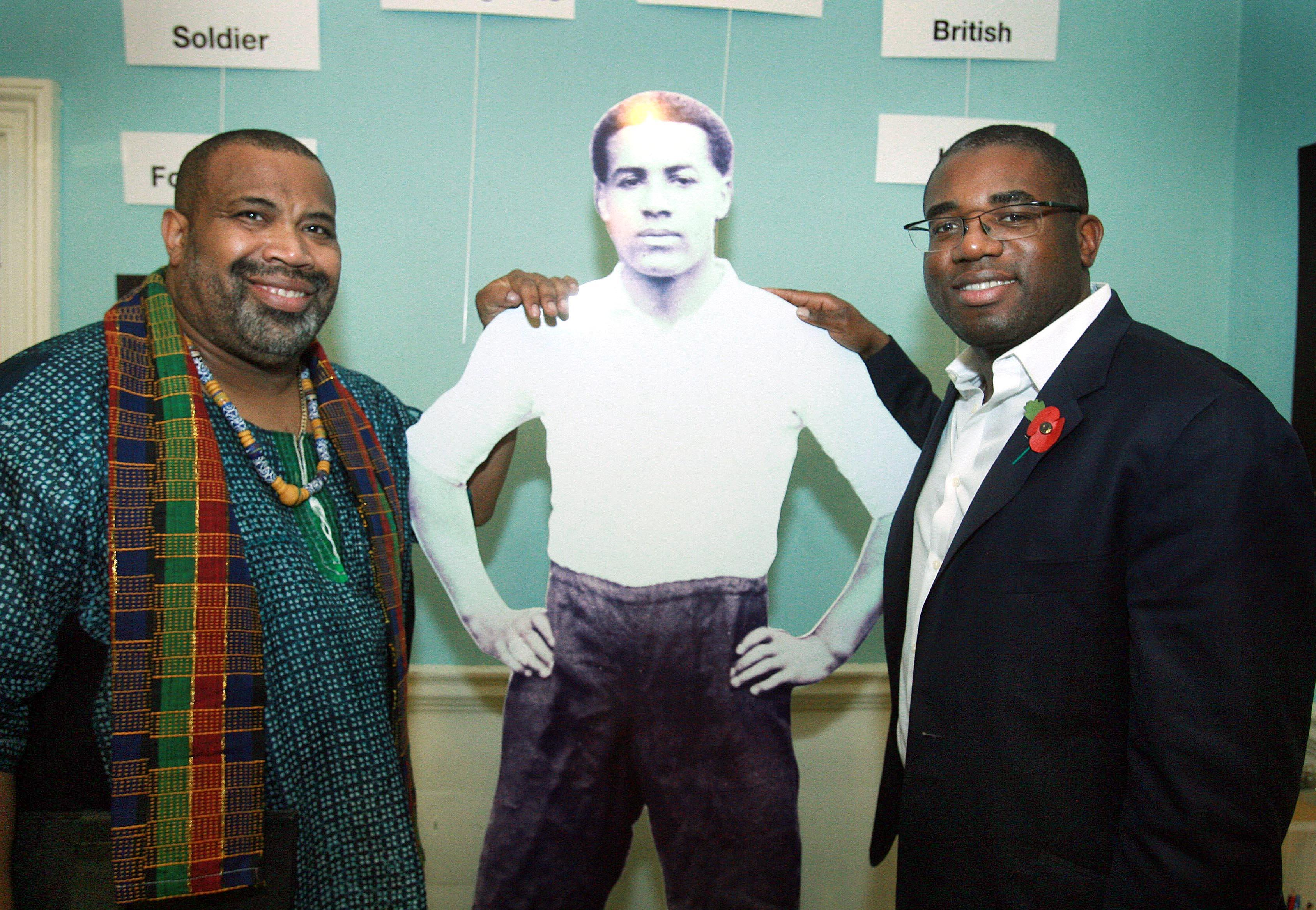 Walter Tull exhibition visited by David Lammy MP and Hesketh Benoit local community sports leader and activist