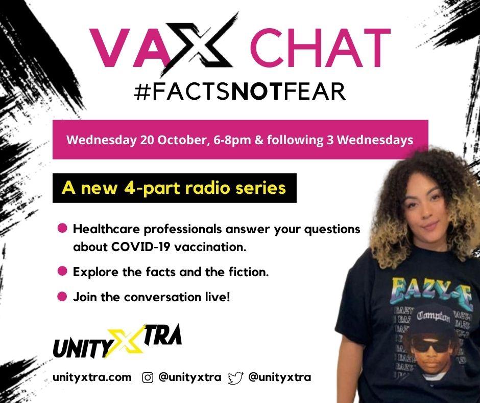 Vax Chat radio series advert on Unity Xtra radio